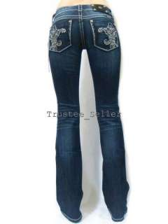 MISS ME Crystals Fleur Pick Stitch Dark Blue Boot Jeans