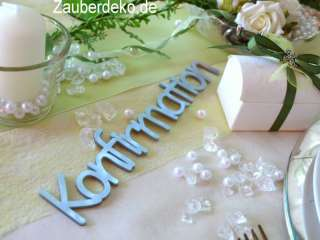 Konfirmation Schriftzug Tischdeko Silber Acryl Schrift Buchstaben