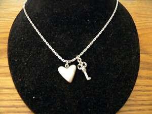 FOSSIL PEWTER CHAIN & HEART KEY PENDANT NECKLACE