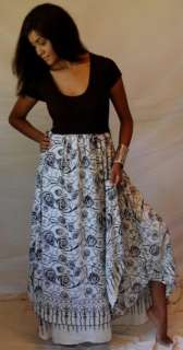 Y778S BLACK WHITE/DRESS MAXI LAYERED STRETCHED M L 1X 2X SPANDEX BATIK