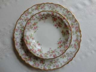 Gold Trellis China Luncheon Set Pink Yellow Roses Plates Cups +