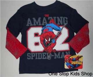 BATMAN or SPIDERMAN Boys 3T Long Sleeved SHIRT Top Super Hero