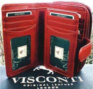 QUALITY LADIES PURSE WALLET soft LEATHER RED + gift box VISCONTI BNWT