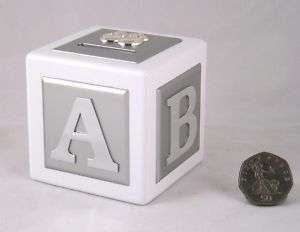 Silver plated & Wood MONEY BOX A B C baby christening gift