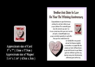 10TH WEDDING ANNIVERSARY BROTHER & SISTER IN LAW CARD & MAGNET GIFT