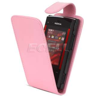 BABY PINK LUXURY LEATHER FLIP CASE COVER FOR NOKIA X3