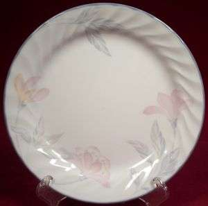 Corelle Pink Trio Salad Plate Pink Flowers Gray Leaves