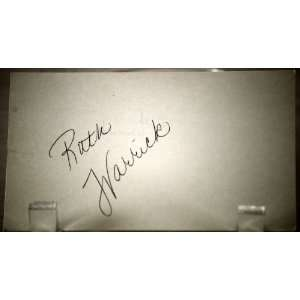 Warrick Vintage Autograph   3x5 Card   TV & Film Actress   Citizen