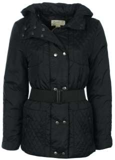 Womens Padded Quilted Hooded Jacket Ladies Belted Coat in Black Sizes