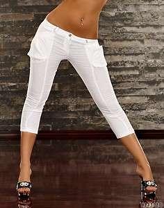 Pantalon , corsaire , pantacourt femme taille XL ( 40 42 ) blanc