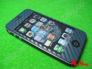 Blue Carbon Fiber Full Body iPhone 4 Skin Sticker #H