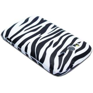 FOR HTC WILDFIRE S WHITE ZEBRA PRINT SOFT TPU GEL CASE COVER + SCREEN