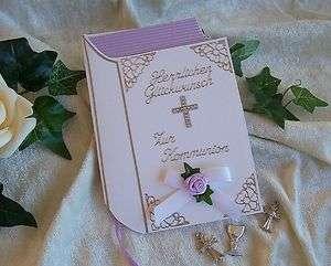 Glückwunschkarte Geldgeschenk Kommunion/Konfirmation Gebetsbuch weiß