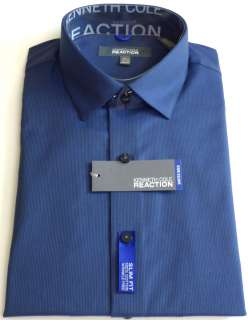 KENNETH COLE REACTION Mens Self Design Dress Shirt Blue Velvet Sizes