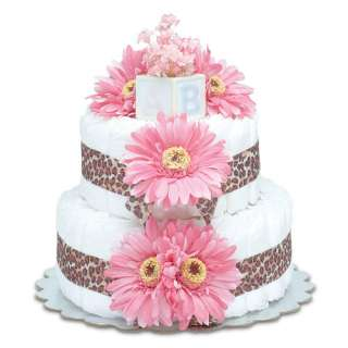 Bloomers Baby Diaper Cake Safari Hot Pink Daisies with Leopard Print