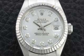 Genuine Ladies Rolex 18K/SS Oyster Perpetual Datejust Silver Diamond