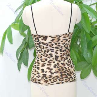 Women Sexy Leopard Print Strap Sleeveless Top Vest New