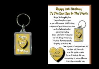 20TH HAPPY BIRTHDAY SON 20 TODAY CARD AND KEYRING GIFT