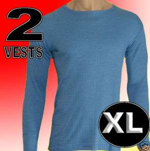 Mens thermal underwear 2 blue long sleeve vest xl