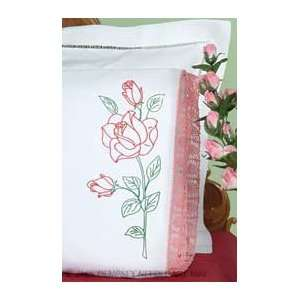 Long Stem Rose Hemstitched Pillowcases   Embroidery Kit