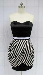 BL1368 BLACK WHITE STRIPE STRAPLESS DRESS SIZE XS