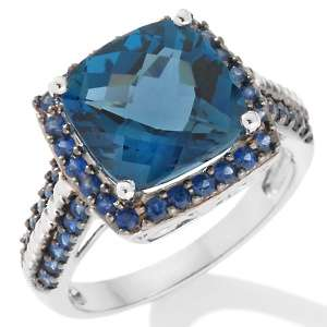 20ct London Blue Topaz and Sapphire 10K White Gold Ring