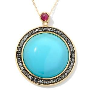 Sleeping Beauty Turquoise, Black Diamond and Ruby 14K Pendant with 18