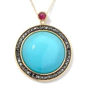 Sleeping Beauty Turquoise, Black Diamond and Ruby 14K Pendant with 18