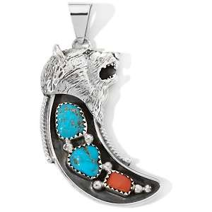 Turquoise and Coral Sterling Silver Wolf Horn Pendant