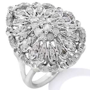 1ct Diamond Sterling Silver Pear Shaped Ring