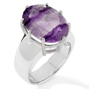 7ct Purple Namibian Fluorite Sterling Silver Oval Ring
