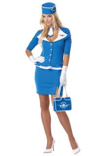 Retro Stewardess Adult Costume for Halloween   Pure Costumes