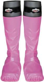 Leather look boot covers with Power Ranger S.P.D. Logo top. Pink only