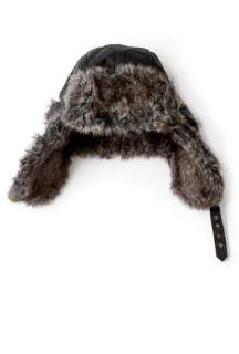 Barbour  Black Quilt Wax Fur Detail Deerstalker Hat by Barbour