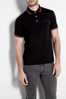 Fred Perry Laurel Wreath  Black Japanese Twin Tip Polo Shirt by Fred