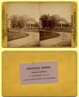 , NY Hatfield House Hotel & Lawn People Posing Stereoview
