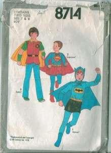 Vintage Simplicity Batman Superman Super Heroes Costume Sewing Pattern