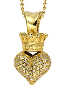 King QUEEN Baby studio CZ 3D CROWNED HEART 18k Vermeil