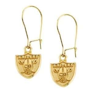 14K Yellow Oakland Raiders NFL Logo Dangle Earrings Jewelry