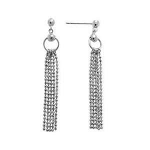 14K White Gold Chain Dangle Earrings Jewelry