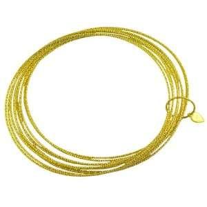 18 Karat Yellow Gold over Sterling Silver Diamond cut Set of 10 Bangle