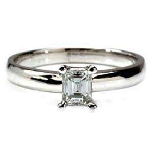 1/2 Carat Emerald Cut Diamond 18k White Gold, Solitaire