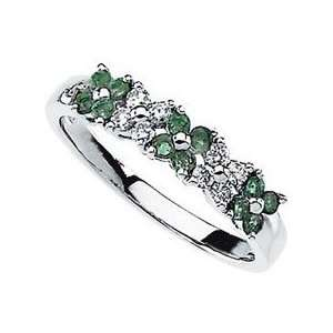 Intricate Natural 14 kt Gold Band Ring   Emeralds & Diamonds in Flower