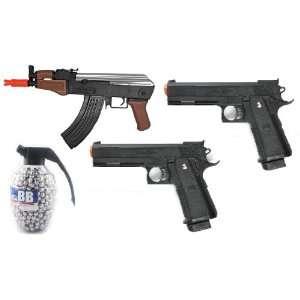 Airsoft Gun Combo Set Spring AK47 Stubby Killer FPS 240 High Capacity