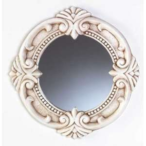 Antique Ivory Round Wall Mirror