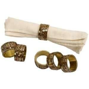 Set of 6 Omiska Gold Tone Napkin Rings