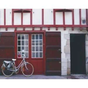 Light Blue Bicycle Near Red Doors   Poster by Francisco