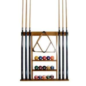 6 Pool Cue   Billiard Stick Wall Rack Made of Wood, Oak