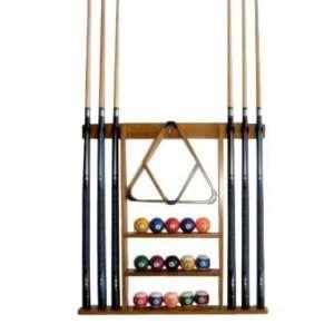 6 Pool Cue   Billiard Sick Wall Rack Made of Wood, Oak