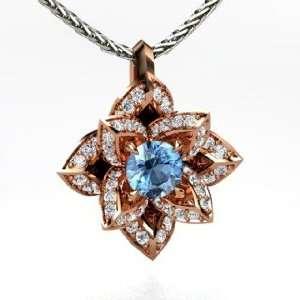 Pendant, Round Blue Topaz 18K Rose Gold Necklace with Diamond Jewelry